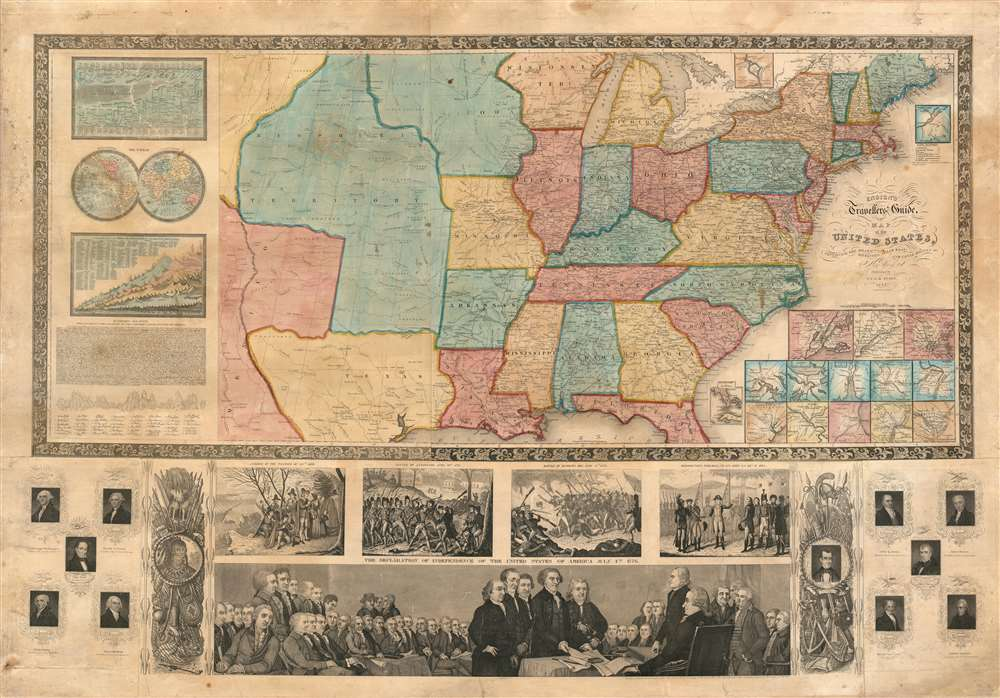 Ensign's Travellers' Guide, and Map of the United States, containing the Roads, Distances, Steam Boat and Canal Routes etc. - Main View