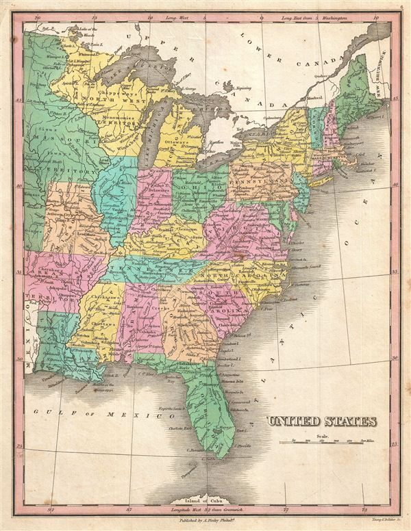 1827 Finley Map of the United States