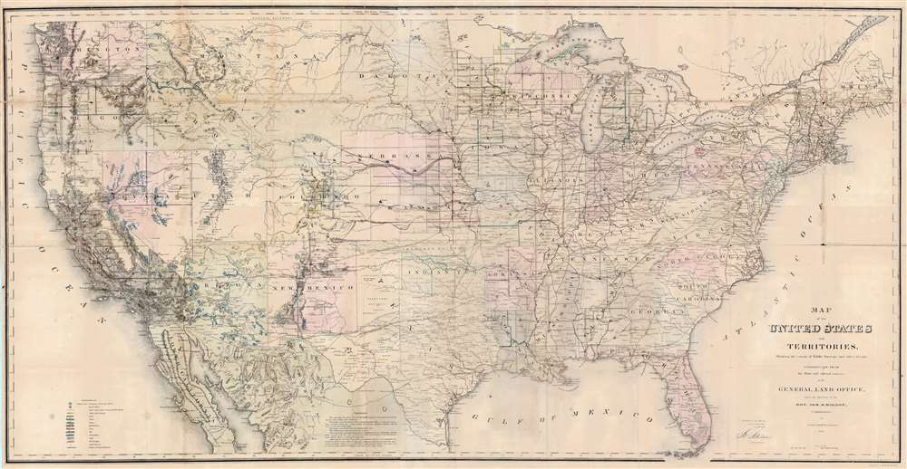 1867 General Land Office Map of the United States w/ Mineral Deposits