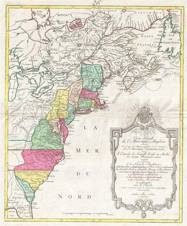 Carte Nouvelle de L'Amerique Angloise contenant tout ce que les Anglois possedent sur le Continent de L'Amerique Septentrionale savoir le Canada, la Nouvelle Ecosse ou Acadie, les treize Provinces unies