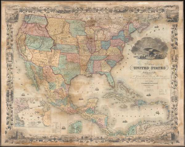 Map of the United States of America, the British Provinces, Mexico, the West Indies, and Central America: with part of New Granada and Venezuela.
