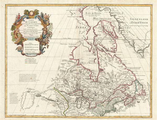 Carte du Canada Qui Comprend la Partie Septentrionale des ...