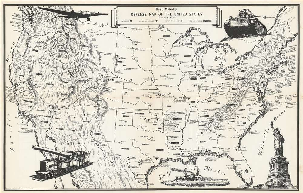 Rand McNally Defense Map of the United States.: Geographicus ...