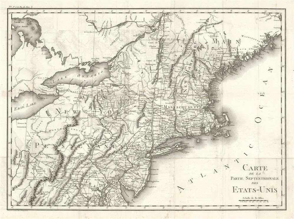 Carte De La Partie Septentrionale Des Etats-Unis. - Main View