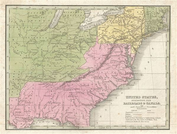United States, Exhibiting the Railroads and Canals.