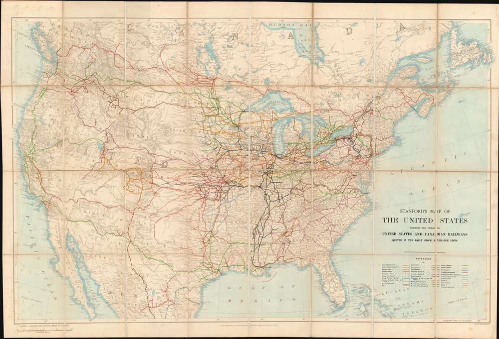 Stanford's Map of the United States showing the principal United States and Canadian Railways quoted in the Daily Stock Exchange Lists. - Main View