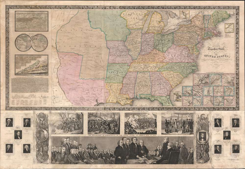 Ensign's Travellers' Guide, and Map of the United States, containing the Roads, Distances, Steam Boat and Canal Routes. - Main View