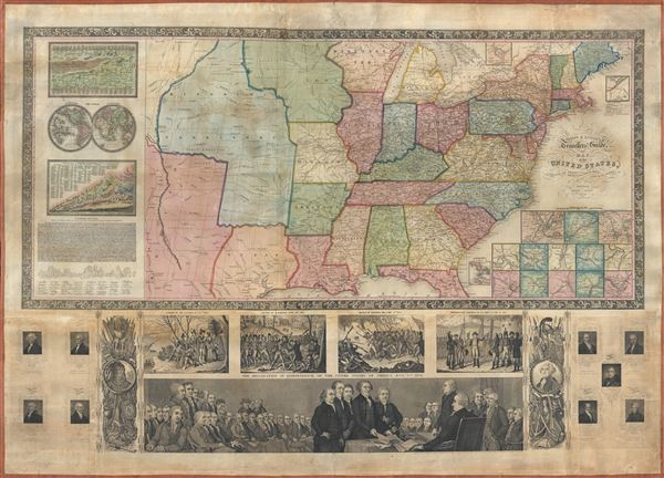 Phelps and Ensign's travellers' guide, and map of the United States, containing the roads, distances, steam boat and canal routes and c. - Main View