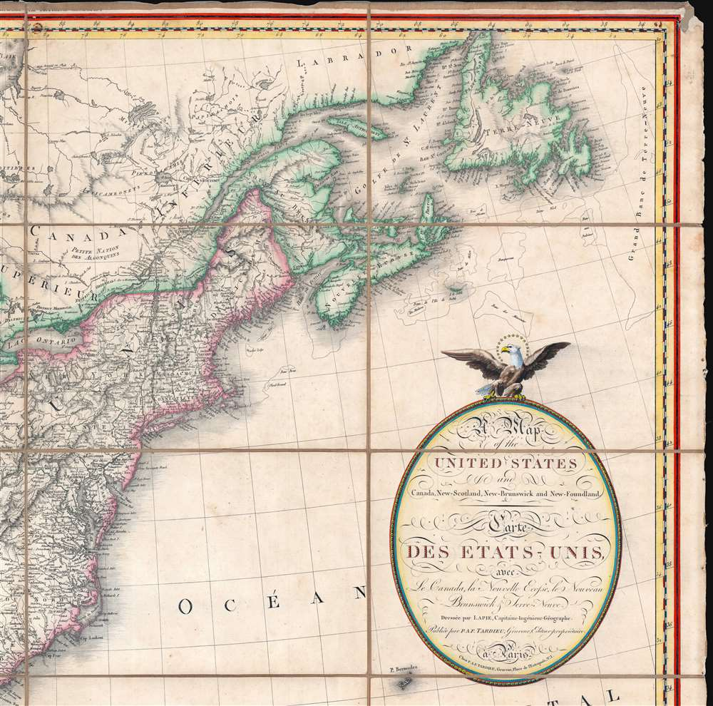 A Map of the United States and Canada, New-Scotland, New-Brunswick and New-Foundland. / Carte des Etats-Unis, avec le Canada, La Nouvelle Ecosse, Le Nouveau Brunswick et Terre-Neuve. / A Map of the West-Indies and of the Mexican-Gulph. / Carte des Indies Occidental et du Golfe du Méxique. - Alternate View 3
