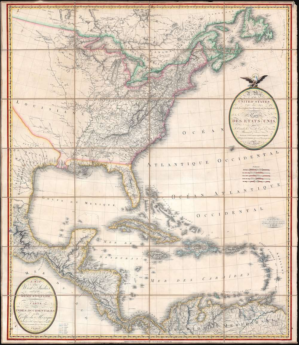 A Map of the United States and Canada, New-Scotland, New-Brunswick and New-Foundland. / Carte des Etats-Unis, avec le Canada, La Nouvelle Ecosse, Le Nouveau Brunswick et Terre-Neuve. / A Map of the West-Indies and of the Mexican-Gulph. / Carte des Indies Occidental et du Golfe du Méxique. - Main View