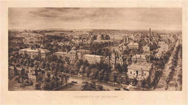 1908 Richard Rummell Bird's-Eye View of the University of Michigan Campus