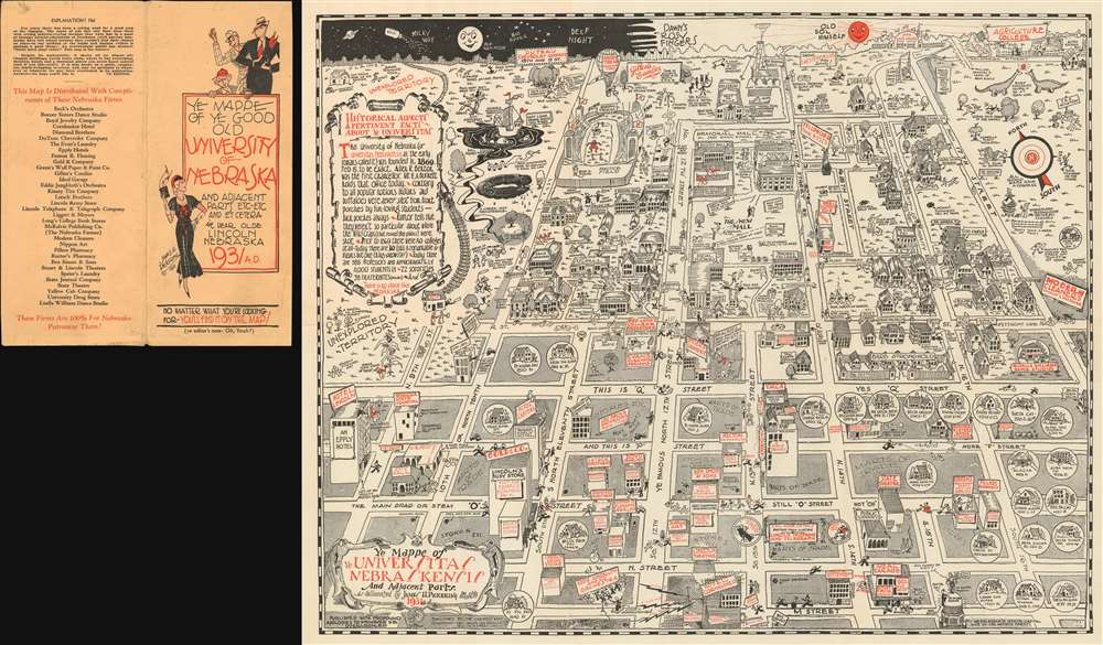 Ye Mappe of Ye Good Old University of Nebraska and Adjacent Parts Etc-Etc and Et Cetera in Dear Olde Lincoln Nebraska. / Ye Mappe of Ye Universitas Nebraskensis and Adjacent Parts.