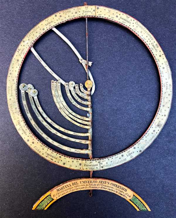 Maquina del Universo segun Copernico. El Circulo maximo, representa la bobeda del Firmamento, su Centro, el Sol: y su vacio en el que navegam los Planetas y demas cuerpos la Atmosfera.