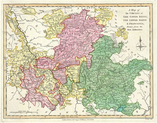 A Map of the Circles of The Upper Rhine, The Lower Rhine and Franconia, Drawn from the Best Authorities.