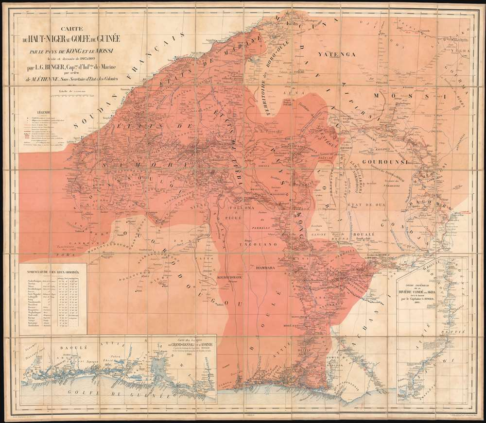 1890 Louis Gustave Binger Map of  the Cote d'Ivoire,  Ghana, Burkina Faso, Mali and Guinea