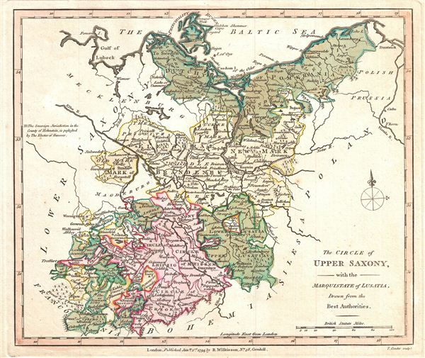 The Circle of Upper Saxony, with the Marquistate of Lusatia, drawn from the Best Authorities.