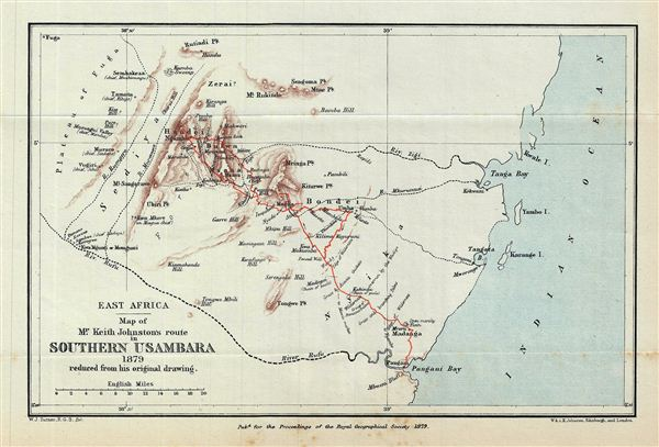 East Africa.  Map of Mr. Keith Johnston's route in Southern Usambara 1879 reduced from his original drawing.