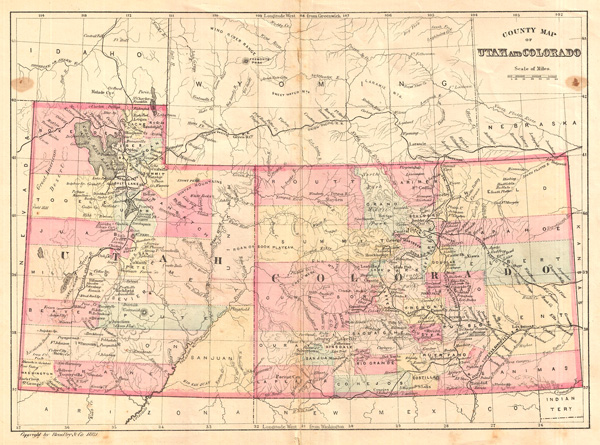 Utah Colorado Map County Map of Utah and Colorado.: Geographicus Rare Antique Maps
