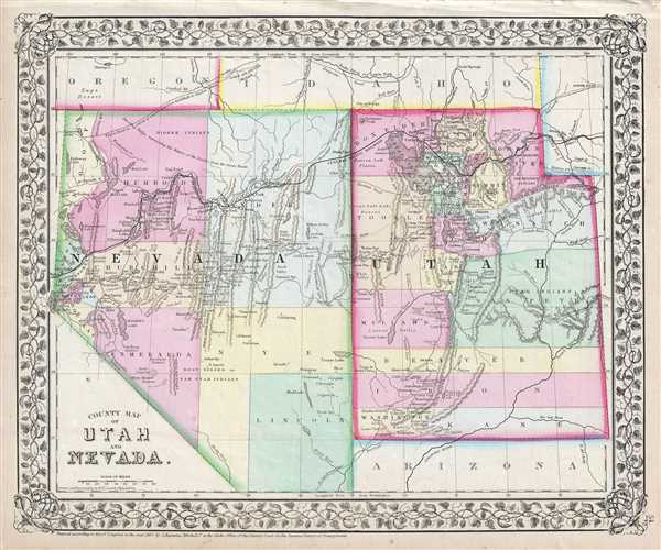 County Map of Utah and Nevada.