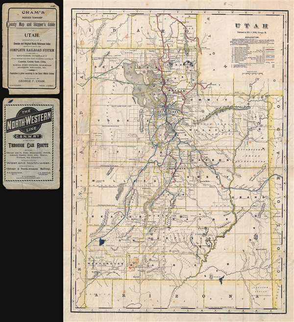 Utah. / Cram's Indexed Township County Map and Shipper's Guide of Utah.