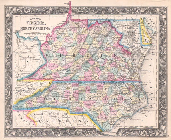 County Map of Virginia, and North Carolina.