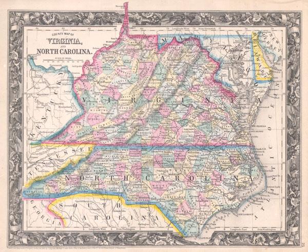 County Map of Virginia, and North Carolina. - Main View