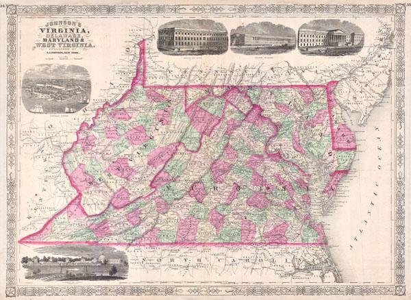 Johnson's Virginia, Delaware, Maryland & West Virginia. - Main View