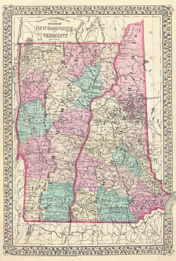 County and Township Map of the States of New Hampshire and Vermont.