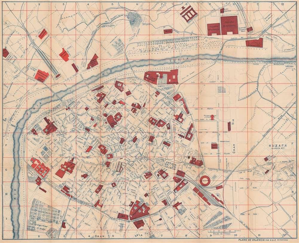 1898 Ortega Paredes City Plan or Map of Valencia, Spain