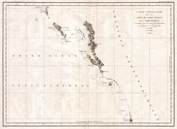 Carte Particuliere de la Cote du Nord-Ouest de l Amerique reconnue par les Fregates Francaises la Boussole et l Astrolabe en 1786. 2e. Feuille. - Main View