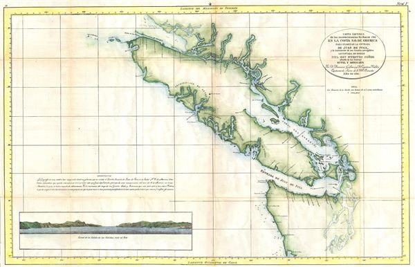 Carta Esferica de los reconocimientos hechos en 1792 en la Costa N.O. de America para examinar la Entrada de Juan de Fuca, y la internacion de sus Canales navegables levantada de ordern del Rey Neustro Senor abordo de la Goletas Sutil y Mexicana.