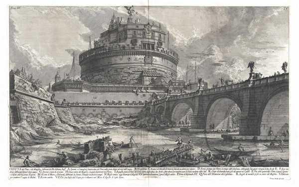 Veduta del Ponte, e del Mausoleo, fabbricati da Elio Adriano Impre.