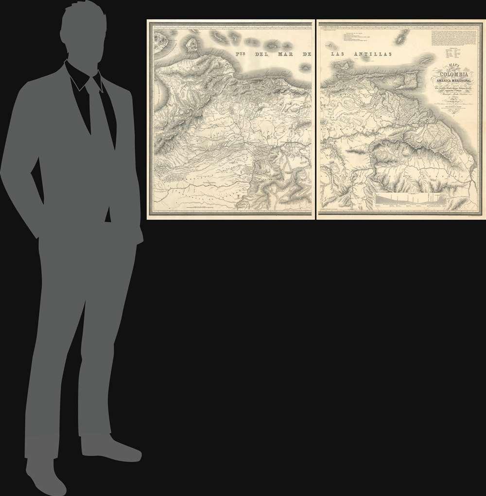 Mapa de una parte del Territorio de Colombia en la America Meridional que comprehende las Nuevas Provincias de Coro, Carabobo, Trujillo, Barinas, Achaguas, Caracas, Barcelona y Cumana - Alternate View 1