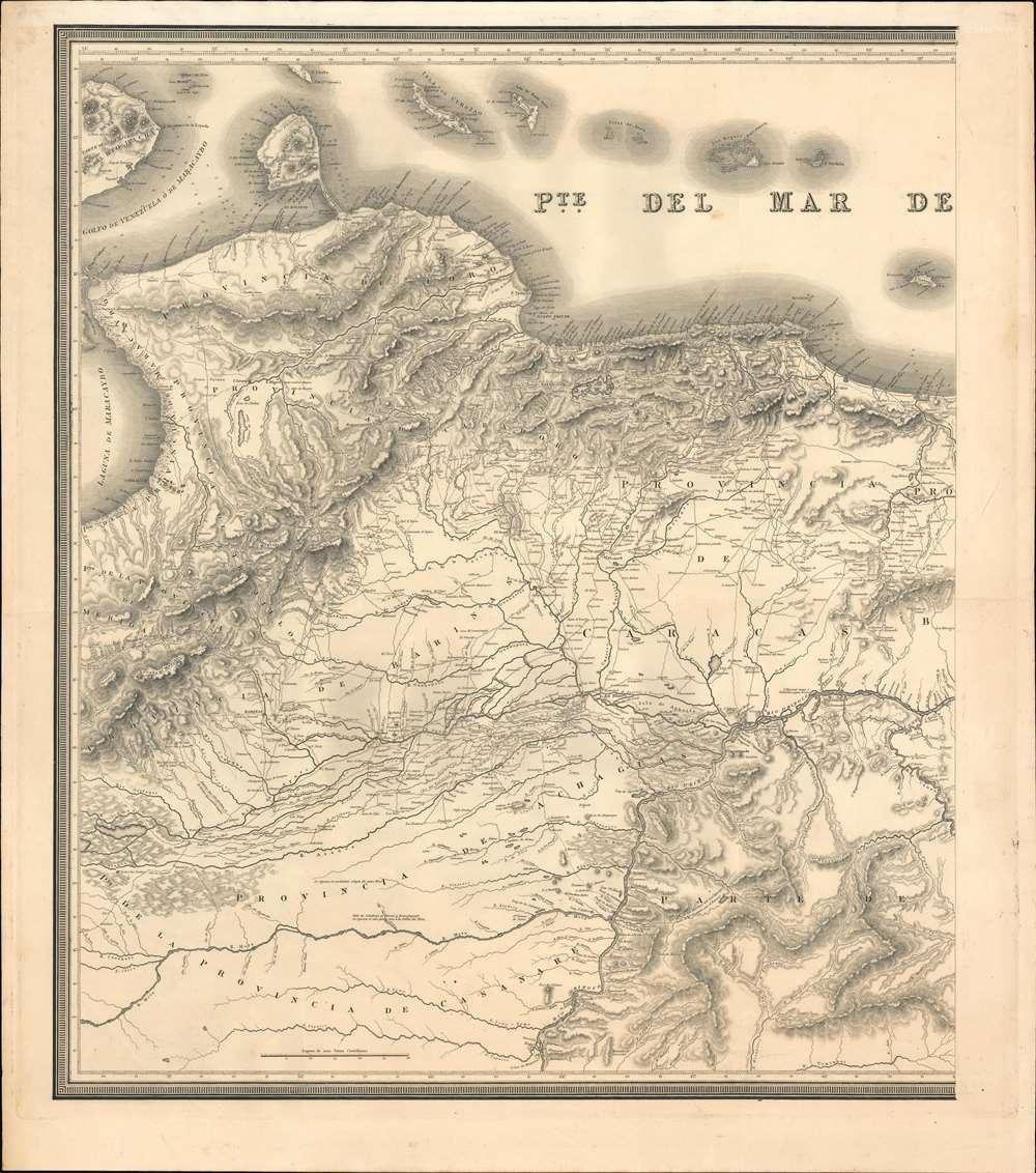 Mapa de una parte del Territorio de Colombia en la America Meridional que comprehende las Nuevas Provincias de Coro, Carabobo, Trujillo, Barinas, Achaguas, Caracas, Barcelona y Cumana - Alternate View 2