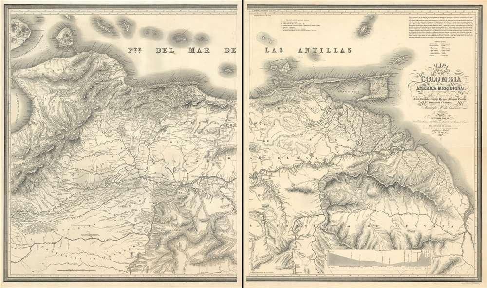 Mapa de una parte del Territorio de Colombia en la America Meridional que comprehende las Nuevas Provincias de Coro, Carabobo, Trujillo, Barinas, Achaguas, Caracas, Barcelona y Cumana - Main View