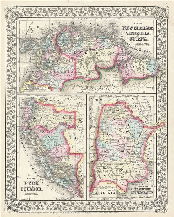 Map of New Granada, Venezuela and Guiana.  Map of Peru, and Equador.  Map of the Argentine Confederation. - Main View