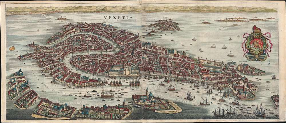 1642 Merian Panoramic View or Map of Venice, Italy
