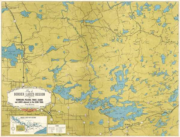 Map of Border Lakes Region Minnesota with Vermilion, Pelican, Trout, Elbow, and Lakes Adjacent to the Echo Trail. - Main View