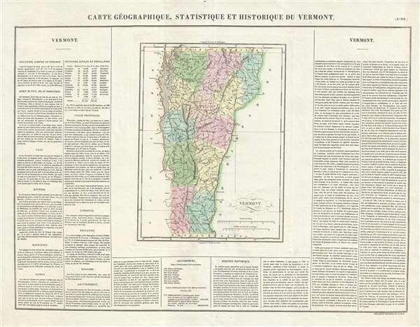 Carte Géographique, Statistique et Historique du Vermont.