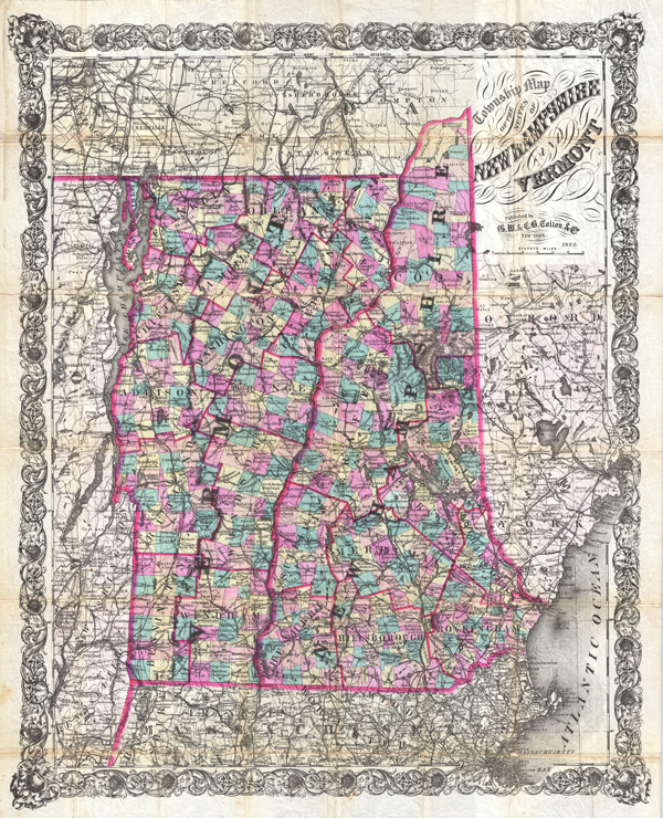 Township Map of the States of New Hampshire and Vermont. - Main View