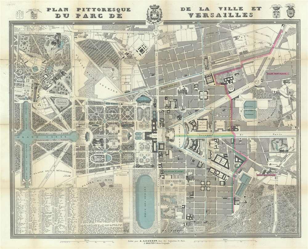 Versailles Map Of France.Plan Pittoresque De La Ville Et Du Parc Du Versailles Geographicus