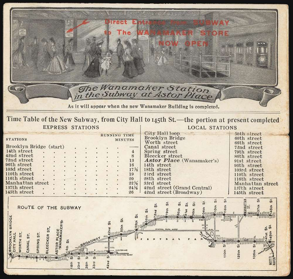 The Wanamaker Vest Pocket Subway Guide / The Wanamaker Station in the Subway at Astor Place. - Main View