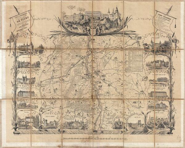 Carte Hydrologique Pittoresque et Routiere des Environs de Vichy (Allier) a l'usage des etrangers  qui frequentent cette ville pendant la saison des eaux.