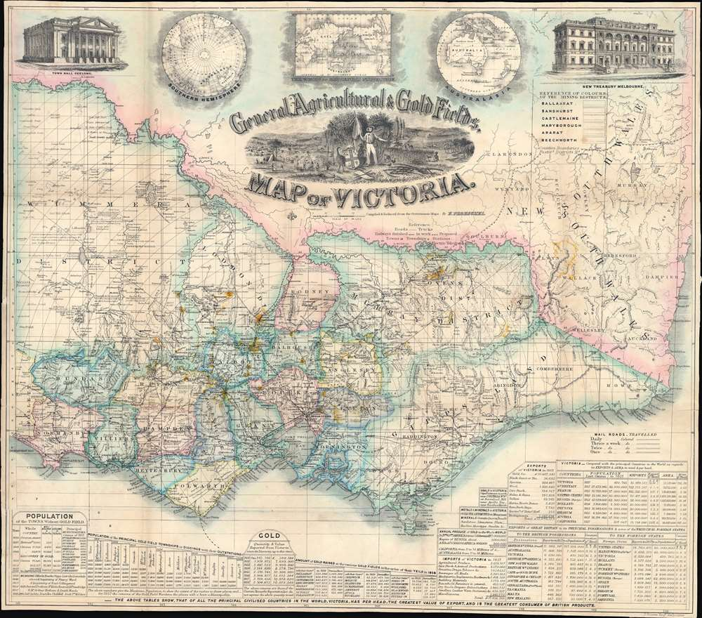 General, Agricultural, and Gold Fields Map of Victoria. - Main View