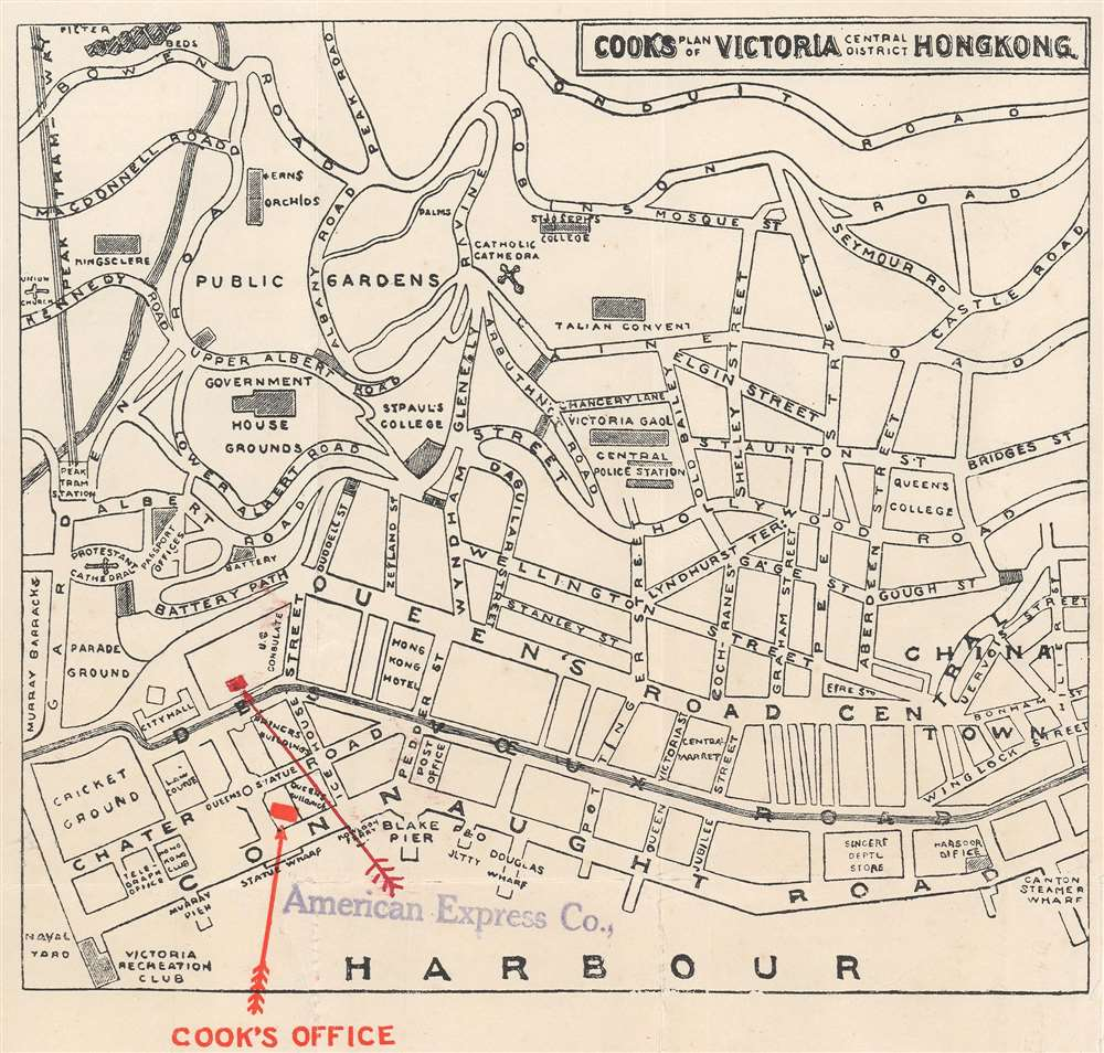 1933 Cook City Plan or Map of Victoria, Central, Hong Kong