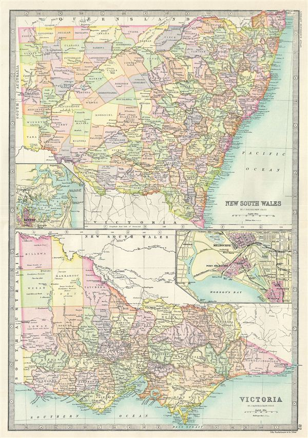 Map Of Nsw And Victoria Australia.New South Wales Victoria Geographicus Rare Antique Maps