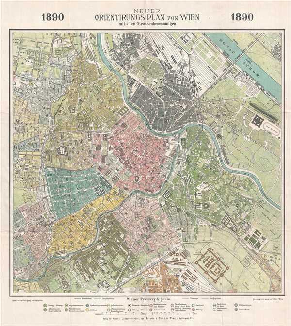 Neuer Orientirungs-Plan von Wien mit allen Strassenbenennungen.