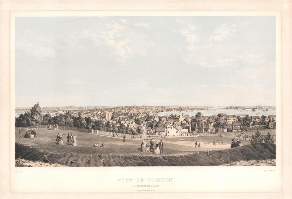 1854 Spindler View of Boston, Massachusetts
