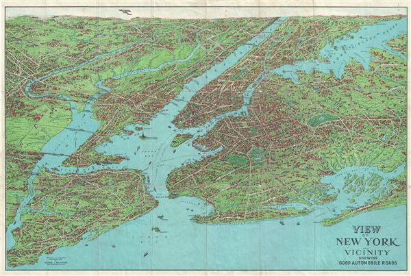 View of New York and Vicinity Showing Good Automobile Roads.
