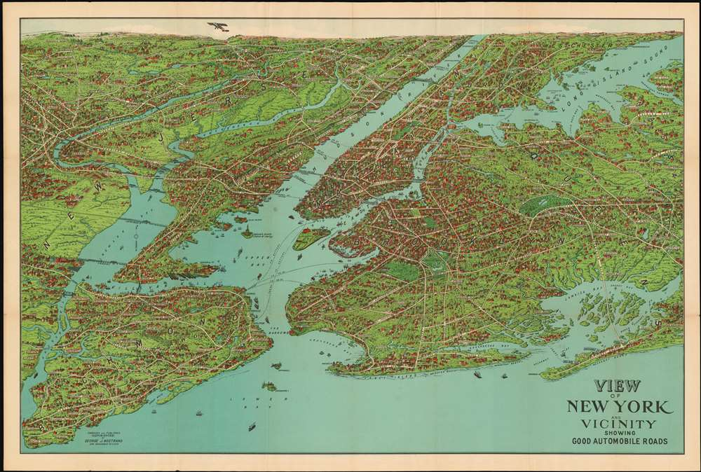 1928 Nostrand Birds Eye View Map of New York City, New York